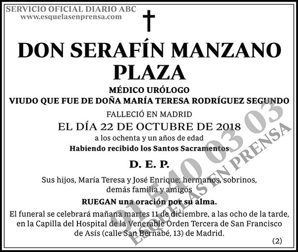Serafín Manzano Plaza